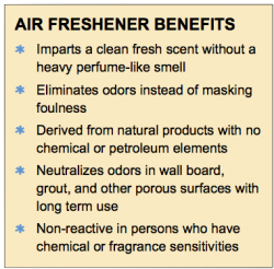 List of benefits for the air freshener service offered by Washroom Wizard including the use of natural elements and the neutralization of odors instead of masking them with chemicals.