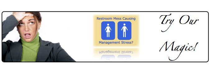 Frustrated business woman with message restroom mess causing management stress