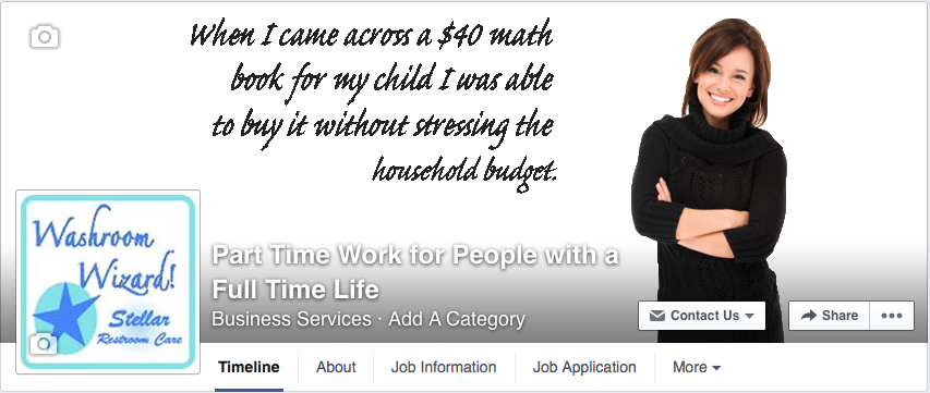 Part time work for people with a full time life facebook page