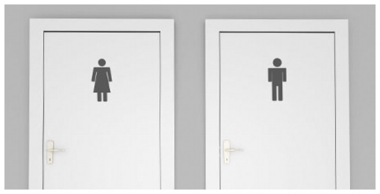 Women's and Men's doors leading to restrooms