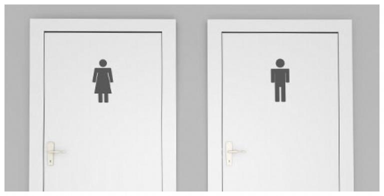 Women's and Men's doors leading to restrooms